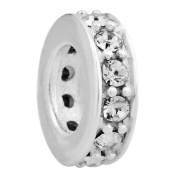 Shining Charm 925 Sterling Silver Spacer Charm Bead with Clear CZ Fit European Charm Bracelets