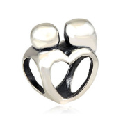 Shining Charm Love Heart 925 Sterling Silver Charm Mother and Son Bead Fit European Bracelets