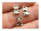6pcs 11*7mm antique silver tiny bear charms