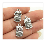 6pcs 15*7mm antique silver plated double sided owl small size charms