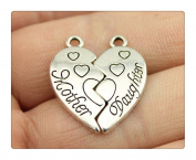 6pcs 24*21mm antique silver plated mother and daughter Heart Puzzle charms