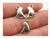 6pcs 14*10mm antique silver cute baby feet charms