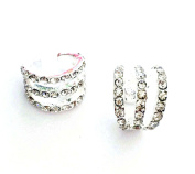 HYIdealism 2PCS/Pair Silver paved with crystal Gems Tone Cartilage Helix Ear Cuff 3 layers Hoops Earrings