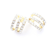 HYIdealism 2PCS/Pair Gold Tone Paved with Crystal Gems Cartilage Helix Ear Cuff 3 layers Hoops Earrings