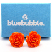 Bluebubble ENGLISH ROSE 22mm CITRUS ORANGE CARVED ROSE STUD EARRINGS WITH GIFT BOX