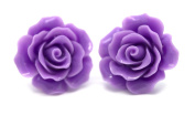 Bluebubble ENGLISH ROSE 22mm PARMA VIOLET PURPLE CARVED ROSE STUD EARRINGS WITH GIFT BOX