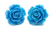 Bluebubble ENGLISH ROSE 22mm CORNFLOWER BLUE CARVED ROSE STUD EARRINGS WITH GIFT BOX