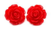 Bluebubble ENGLISH ROSE 22mm RUBY RED CARVED ROSE STUD EARRINGS WITH GIFT BOX