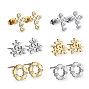 LUXUSTEEL Traditional Stainless Steel Earrings Set with Cubic Zirconia Hypoallergenic 6 Pairs