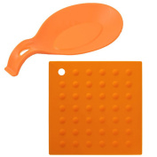 Orange Kitchen Silicone Trivet and Spoon Rest Set Prime Homewares®