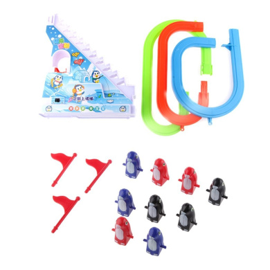 Cheerful Electric Penguin Track Race Stairs Climb Up Fun Music Toy Kids Gift