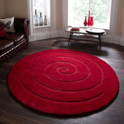 Think Rugs Spiral 100% Wool Hand Carved Round Rug, Red, 140 x 140 Cm