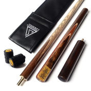 CUESOUL 140cm Handcraft 3/4 Jointed Snooker Cue With Extension/Joint Protector Packed in Leatherette Cue Bag