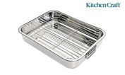 Kitchen Craft 37 Cm Silver Stainless Steel Roasting Pan With Removable Rack 37x28