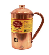 IndianArtVilla 19cm X 10cm Handmade Pure Copper Jug Pitcher With Lid - 1200 ML Storage Serving Water Good Health Benefits Indian Yoga, Ayurveda