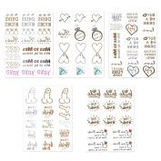 Zhenhui 5 Pcs Hen Party Gold and Silver Tattoo waterproof Temporary Tattoos Hen Night Accessories Decorations