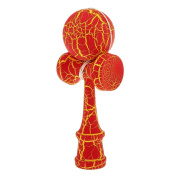 Wooden Crack Paint Kendama Toy Kids Ball Games Red & Yellow