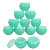 Beauticom® 12 Pieces 10G/10ML High Quality Green Frosted Container Jars with Inner Liner for Pills, Medication, Ointments and Other Beauty and Health Aids - BPA Free