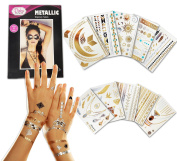 Metallic Temporary Tattoo - 10 SHEETS With Over 200+ Tattoos - Gold Silver Colour Temporary Tattoos - High Gloss Shimmer Effect by Pinky Petals ®