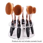 Oval Makeup Brush Holder 10 Hole Drying Rack Organiser Cosmetic Shelf Tool