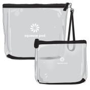 Best Clear Travel Toiletry Bundle of 2 - 1 TSA Approved Quart Size Travel Bag & 1 Large Hanging Toiletry Bag w/ Wrist Strap. Super Durable & Heavy Duty Zipper. Built to Survive Tough Travel