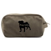 Pug Life Puppy Canvas Shower Kit Travel Toiletry Bag Case