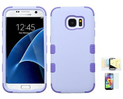 Galaxy S7 Case, [Lavender Purple] Shock Absorbing Two Layer Rubber Plastic Impact Defender Hard Cover Shell Momiji Cleaning Cloth, [Screen Guard] For for Samsung Galaxy S7