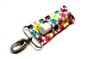 Chapstick Holder, Lip Balm Holder, Clip-On Chapstick, Jewel Toned Flowers