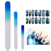New8Beauty Crystal Glass Nail Files Manicure Pedicure Set (3-pack) - with FREE Van Gogh Starry Nights decoration nail stickers