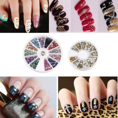 OVERMAL 15 pcs Nail Art Brushes+12 Colours Nail Art Stickers+30 colours Nail Tape And 3D Nail Art Gold and Silver Metal Studs
