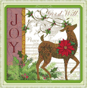 Queenlink 11CT Counted Cross Stitch Christmas Deer Diy Embroidery Kit Sewing