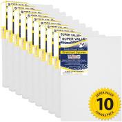 US Art Supply 20cm x 25cm Super Value Quality Acid Free Stretched Canvas 10-Pack - 3/4 Profile 350ml Primed Gesso