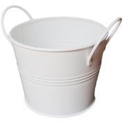 Galvanised Bucket With Handles 15cm x 17cm -White