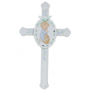 Pacific Giftware Porcelain Bisque Finish Praying Boy Cross with Puppy Figurine, 22cm W