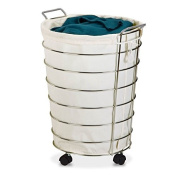Brilliant Canvas and Chrome Finish Rolling Hamper