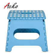 Acko 23cm Sky Blue Folding Step Stool with Anti-Slip Surface for Kids and Adults with Handle, Holds up to 140kg