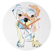 DENY Designs Casey Rogers Bulldog Colour Round Clock, 30cm Round