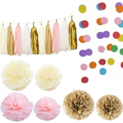 Kubert® 20 Pieces Tissue Paper Pom Poms Flower Paper Tassels Dot Paper Garland Decor, Assorted Colours