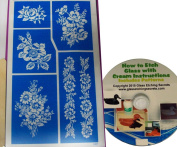 Floral Glass Etching Stencil Patterns, Flower Bouquet Designs + How to Etch CD with Patterns