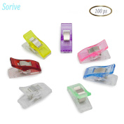 Sorive® 100x Sewing Clips, Wonder Clips, Paper Clips, Blinder Clips, Multi-purpose Clips, Variety of Transparent Colours for Sewing Quilting Crafting Knitting and More, Safe, lightweight.