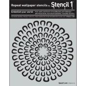 Stencil1 S1_PA_88 Asian Mum Curved Petals Stencil, 28cm by 28cm , White
