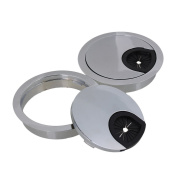 Cable Grommets,Ideaker Bright Silver Zinc Alloy 60mm Computer Desk Wire Hole Round Cover Pack of 2
