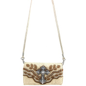 Justin West Tooled Floral Autumn Leaf Pattern Laser Cut Rhinestone Cross Messenger Bag Purse with Long Crossbody Strap