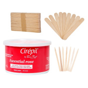 Cirepil Escential Rose Wax (410ml) Kit, includes 100 X-Small and 60 Large Applicator Sticks ...