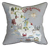 DecorHouzz Pillow Covers State/City Map Pillowcase embroidered cushion cover Birthday Gift Anniversary Gift Graduation Gift New home Gift 46cm x 46cm