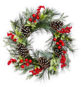 Cypress Home Holly and Pinecone 60cm Wreath