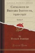 Catalogue of Brevard Institute, 1920-1921