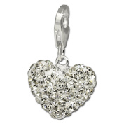 SilberDream Glitter Charm Swarowski Elements heart white shiny 925 Sterling Silver Charms Pendant for Charms Bracelet, Necklace or Earring GSC216W