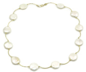 Freshwater White Coin Pearl Necklace 14k Yellow Gold Spacer ,41cm