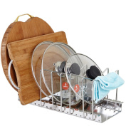 Bestwoohome Stainless Steel Pot Lid Rack Pan & Cutting Board Holder Organiser for Kitchen